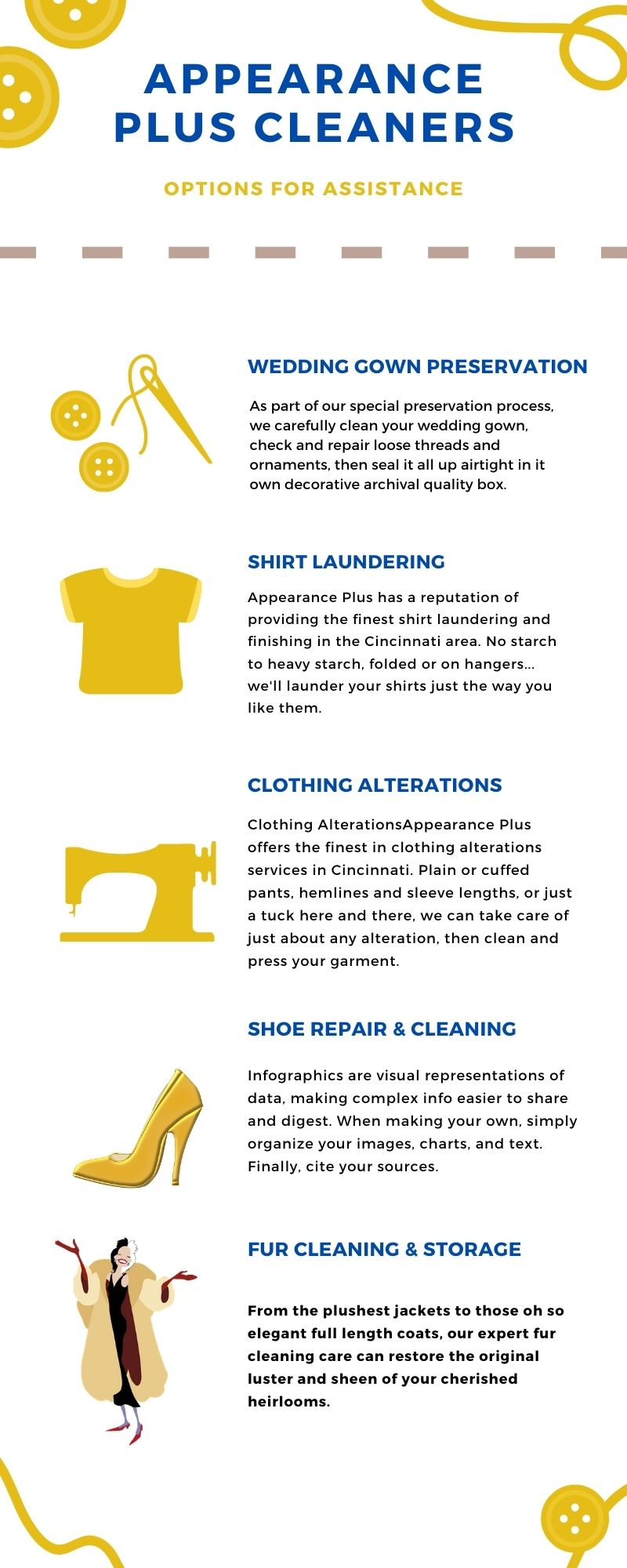 alterations, fur cleaning, wedding dress preservation, shirt laundering